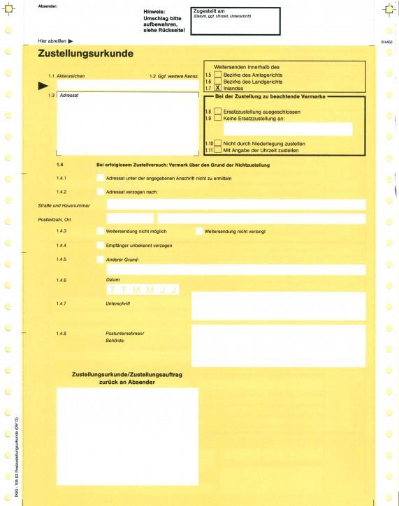 Zustellungsurkunde mit Postübergabeurkunde, endlos, 1-fach, 105E2, VPE 500 Stück