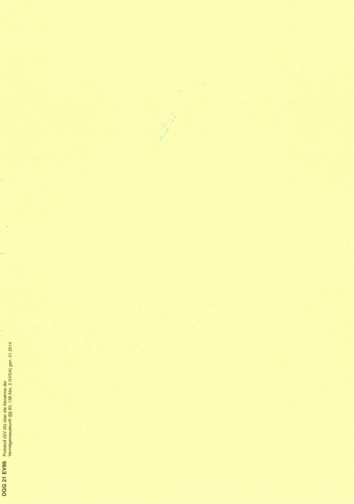 Protokoll Vermögensauskunft, (GV 20), Nordrhein-Westfalen, 21EV99, VPE 100 ST