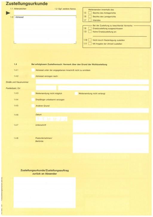 Zustellungsurkunde DIN A4, 104, VPE 100 ST