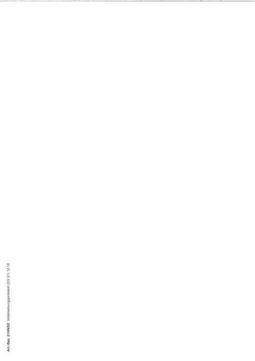 Vollstreckungsprotokoll (GV 21), Hessen, 21HN/02, VPE 100 ST