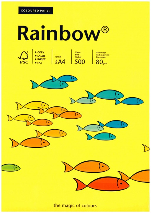 Papyrus 88042343 Multifunktionspapier Rainbow, DIN A4, 80 g/m², gelb, XERO1 A4 gelb, VPE 500 Bl./Pack.