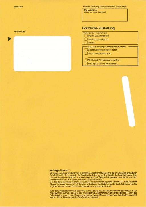 Zustellungshülle (innere) C4 229/324 mm, Fe 55/90 mm, NK, OHNE Kreuz Inl., voderstg. Einstecks., 105KAB6 mit Fe, VE 50 ST