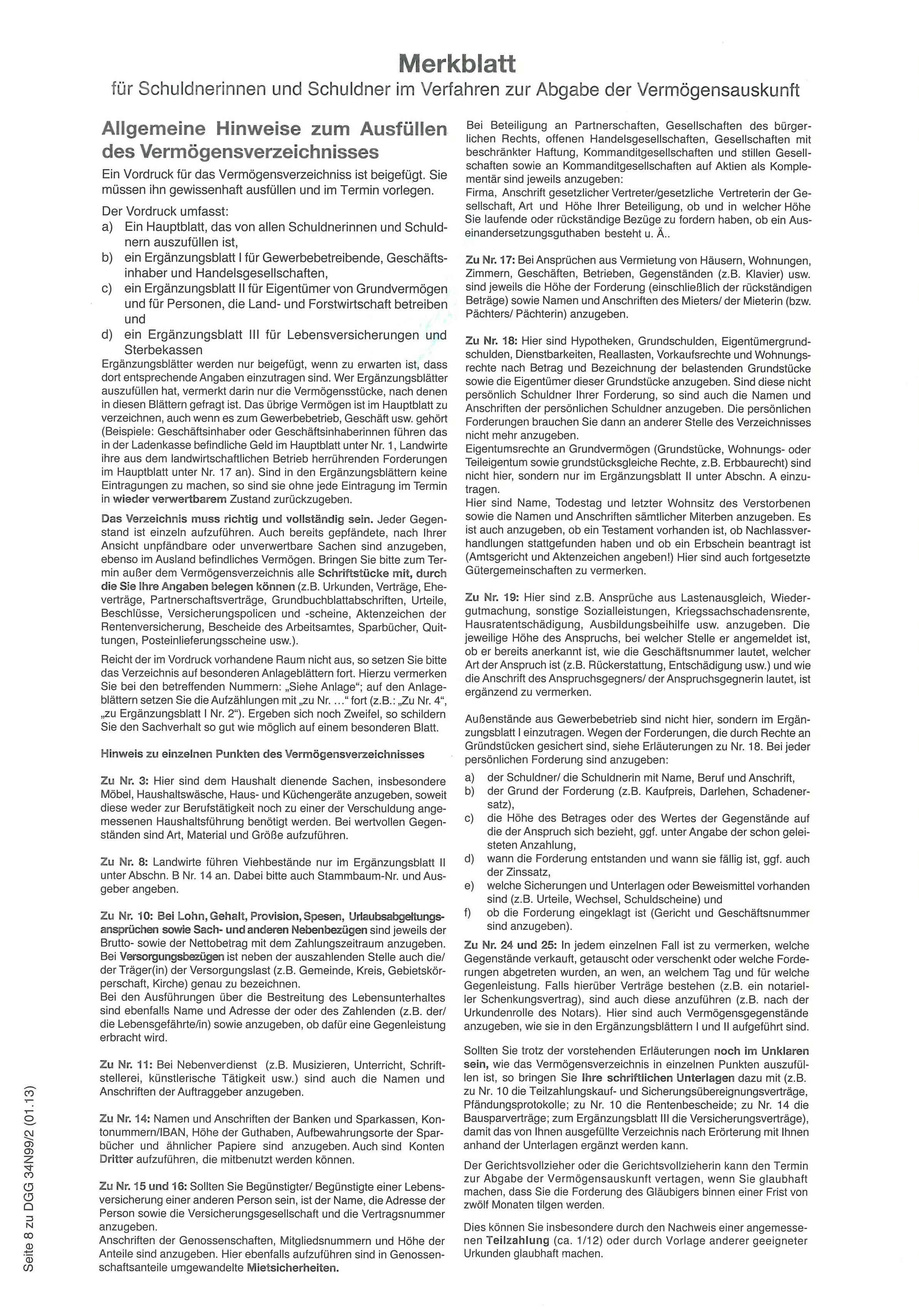 Verm Verz M Merkblatt Nat Person 2 Faltbl Eingest 34n99
